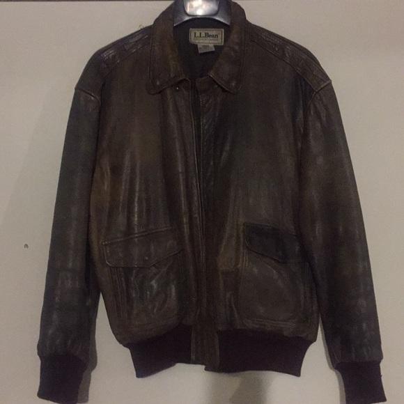 405367b9d Men's LL Bean leather bomber jacket.
